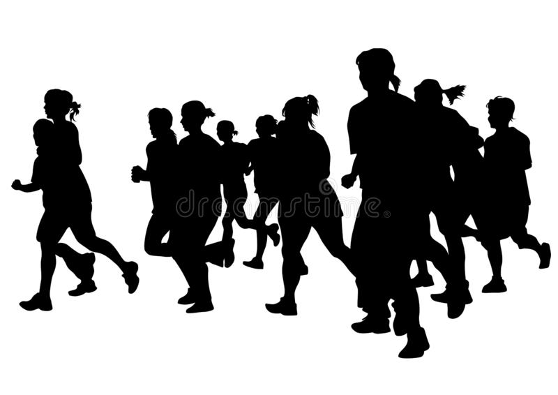 Running girl one. Woman athletes on running race on white background vector illustration