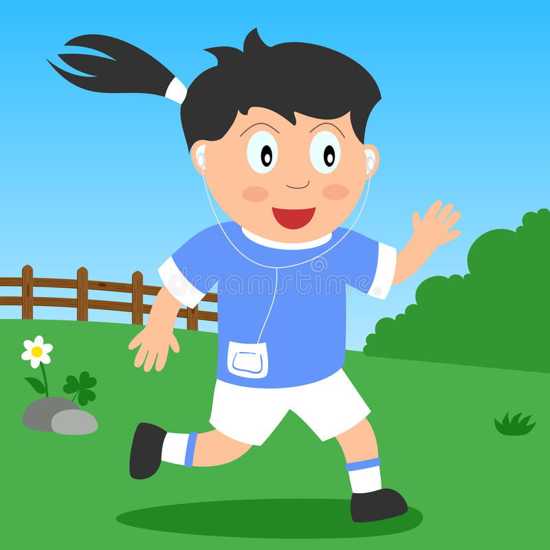Running Girl in the Park. Kids and sport series: a girl running and listening music in a park. Eps file available stock illustration