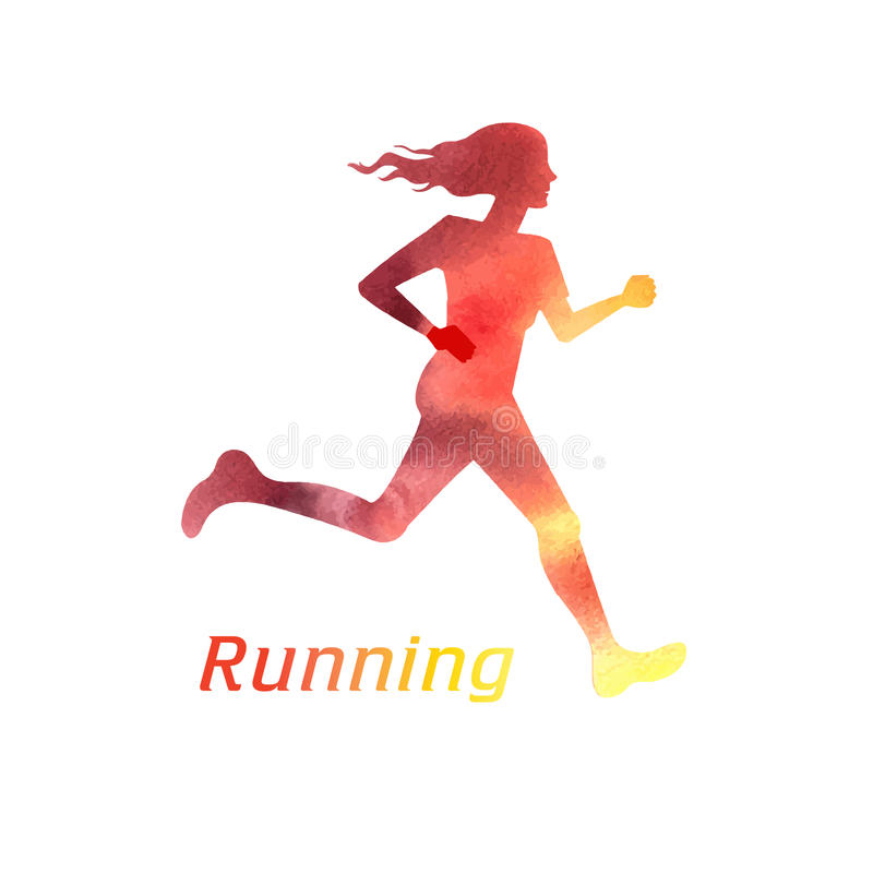 Free Running Girl Silhouette Stock Photography - 48277742