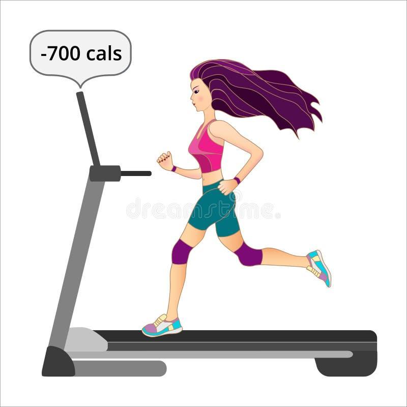 Running girl at the treadmill. royalty free illustration
