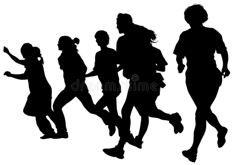 Running girl two. Woman athletes on running race on white background royalty free illustration