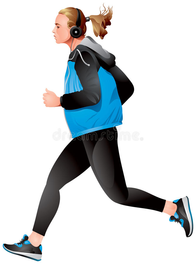 Running Girl variant 2, young sportswoman jogging. With a Media Player realistic vector illustration stock illustration