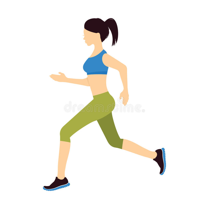 Running girl. Vector illustrations of the Beautiful woman eye stock illustration