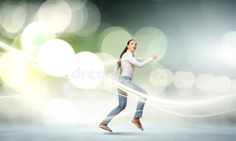 Running girl stock photo