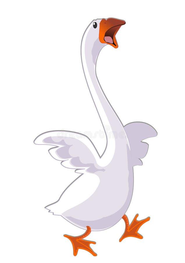 Running goose with open beak stock illustration
