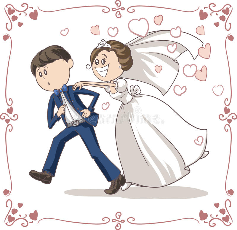 Free Running Groom Chased By Bride Funny Vector Cartoon Royalty Free Stock Images - 44180819