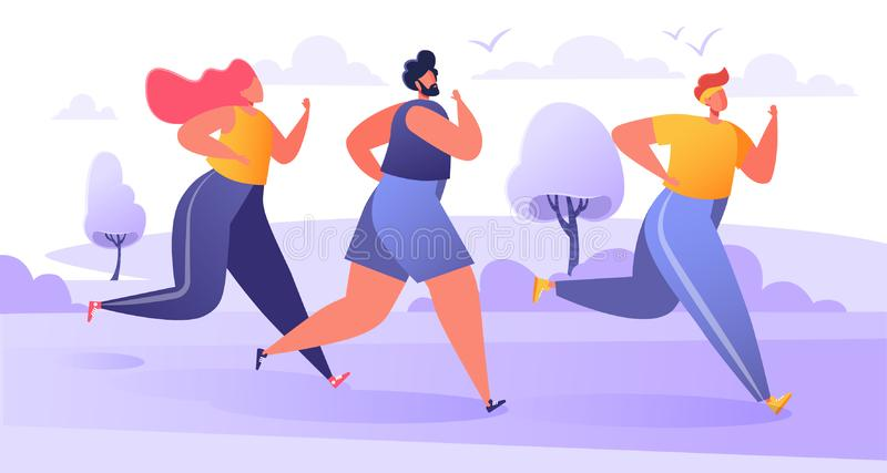 Group of cartoon, flat characters running marathon distance. Healthy lifestyle concept, summer outdoor. vector illustration