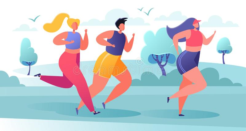City marathon and healthy lifestyle concept, summer outdoor. Group of diverse people in sports wear running on nature landscape background. Sport activity vector illustration