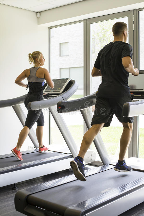 Running in a gym royalty free stock photos