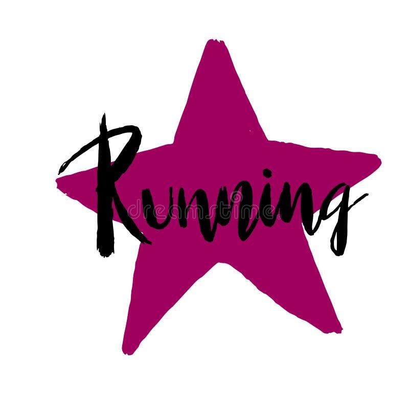Running hand drawn lettering triathlon stock illustration