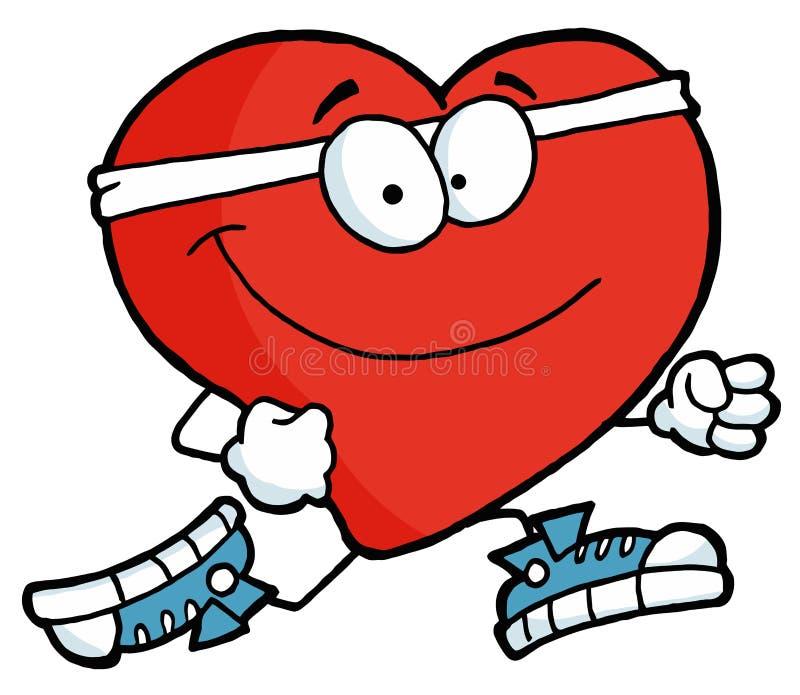 Running heart. Healthy red heart running past vector illustration