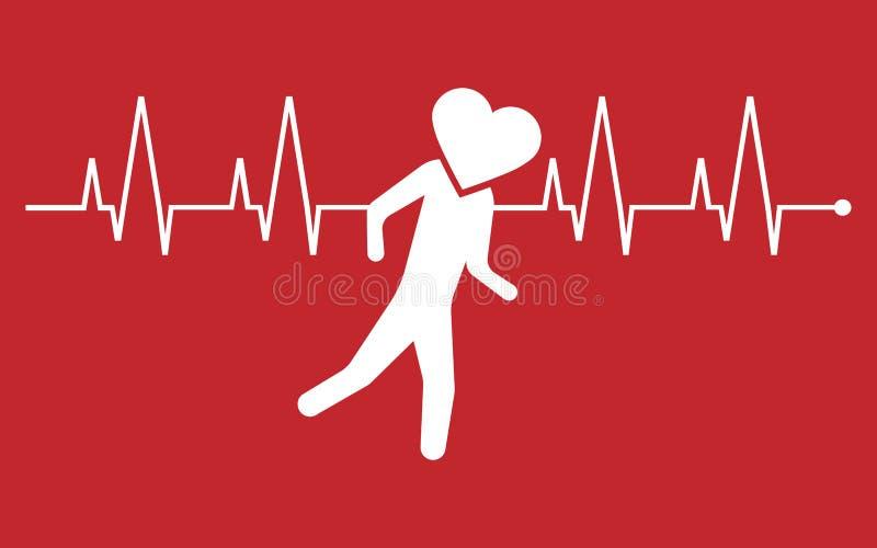 Running heart icon. Vector illustration. stock illustration