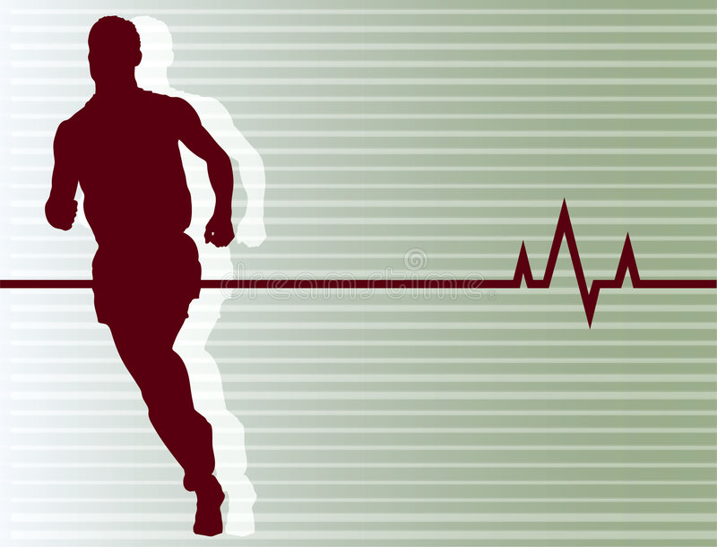 Running Heartbeat. Vector Illustration of SILHOUETTE of man running with heartbeat background stock illustration