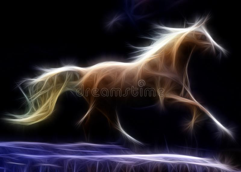 Running horse. Black background with colors ideal for posters, backgrounds and more vector illustration