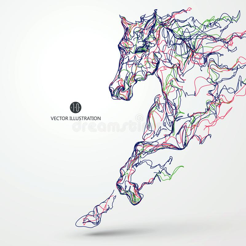 Running horse, colored lines drawing, vector illustration. stock illustration