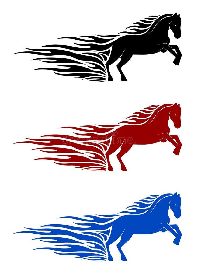Running horse in flames vector illustration