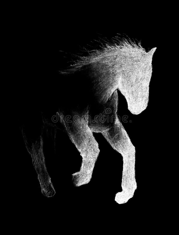 Running horse. Painted with white crayons on black paper. Hand-drawn. Close up. Isolated on black background. royalty free illustration