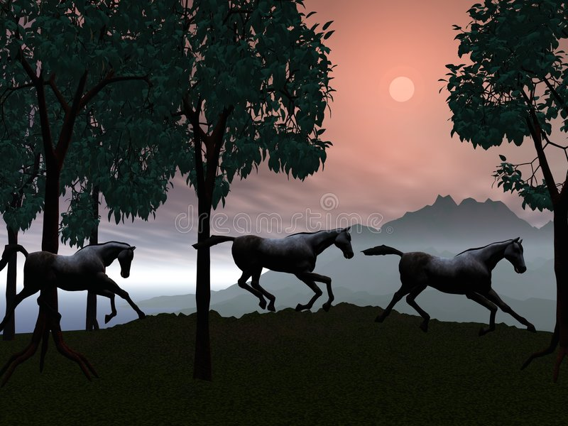 Download Running Horses stock illustration. Illustration of trees - 3462051