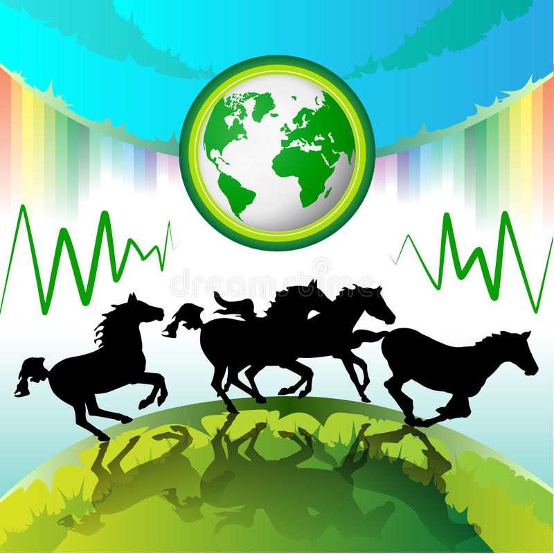 Download Running horses, Eco Earth stock vector. Image of recycling - 16885951