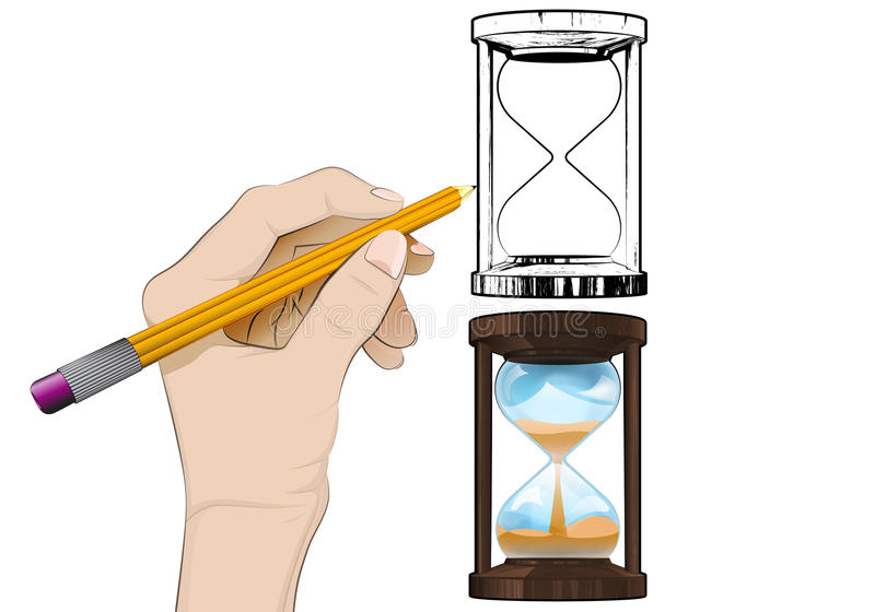 Running hourglass as isolated human hand drawing vector stock illustration