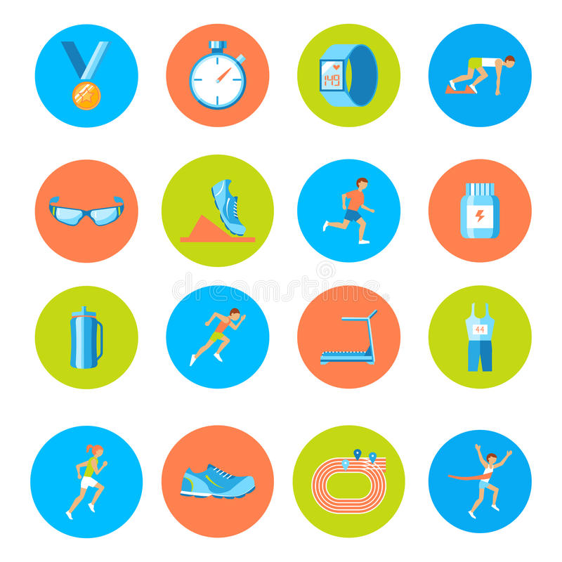 Running icons round. Running race sport activity round buttons icons set isolated vector illustration vector illustration