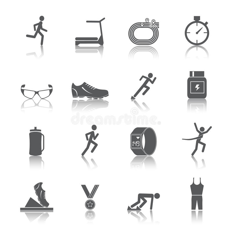 Running icons set. Running race sport activity black silhouette icons set isolated vector illustration stock illustration