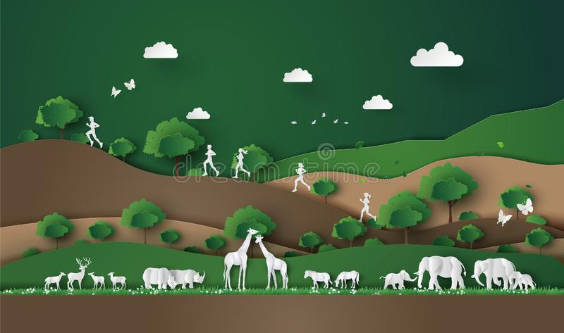 Running in the jungle. Trail Runner of men and women running in the jungle.Paper cut style royalty free illustration