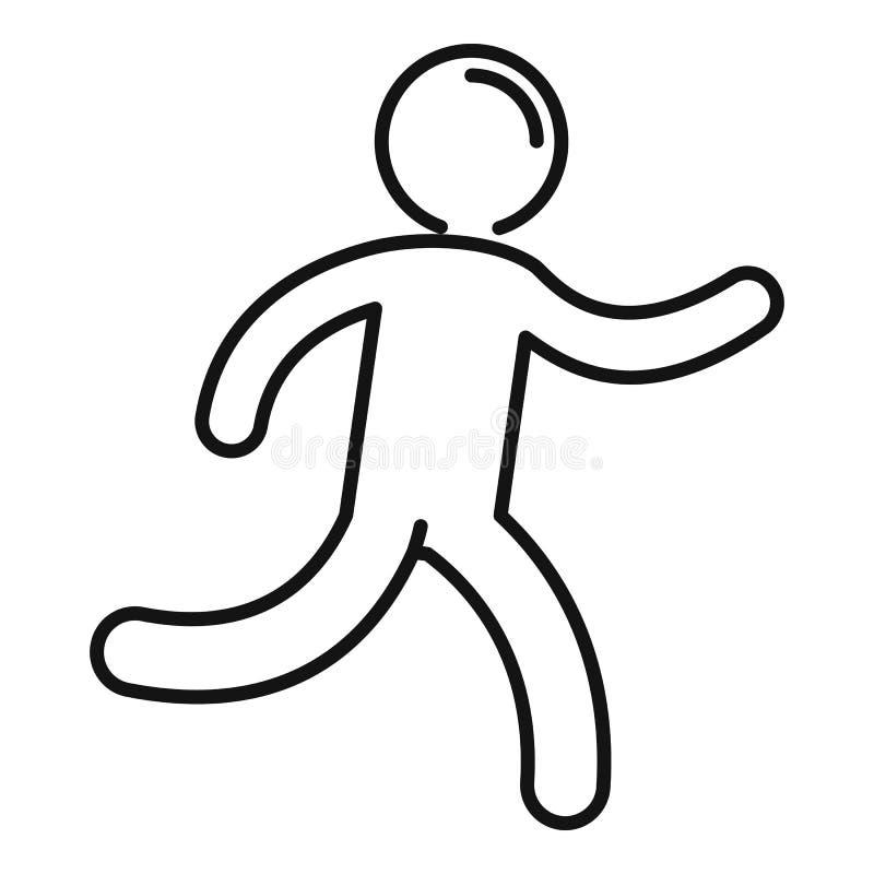 Running kid icon, outline style. Running kid icon. Outline running kid vector icon for web design isolated on white background stock illustration