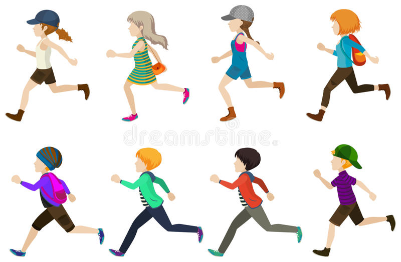 Running kids vector illustration