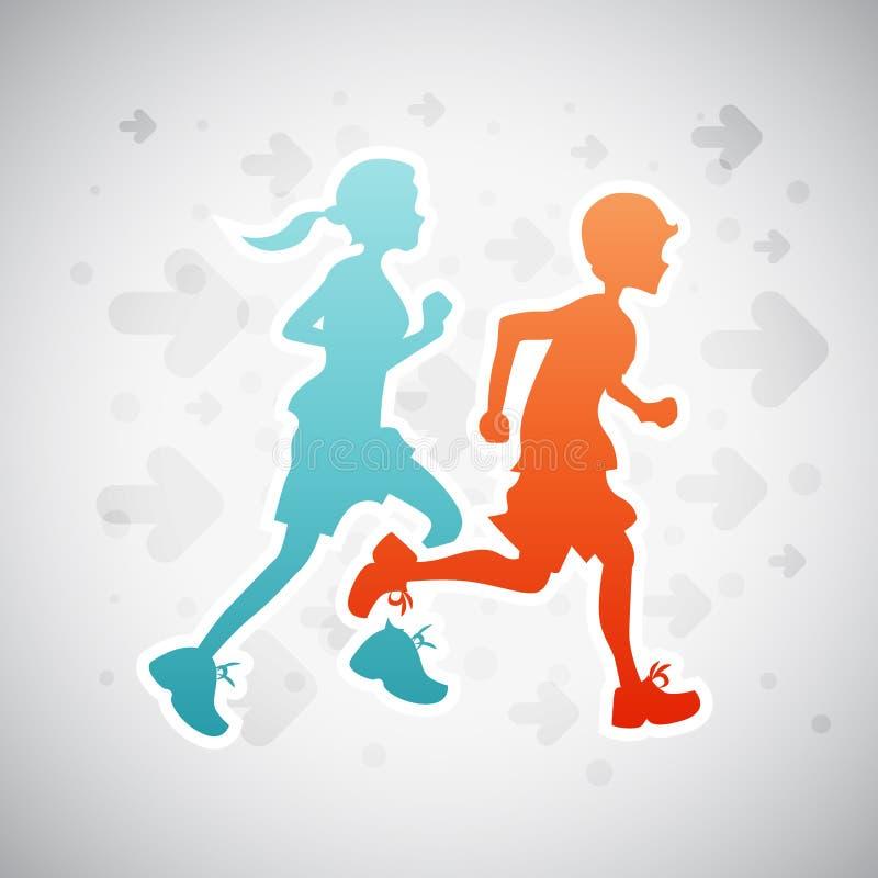 Running Kids vector illustration