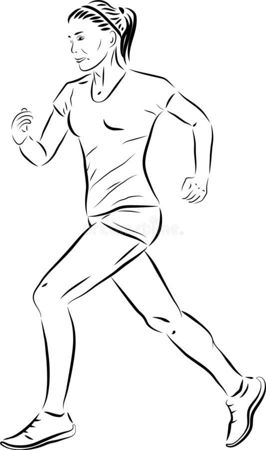running kvinna isolerat också vektor för coreldrawillustration Linje teckning arkivfoton