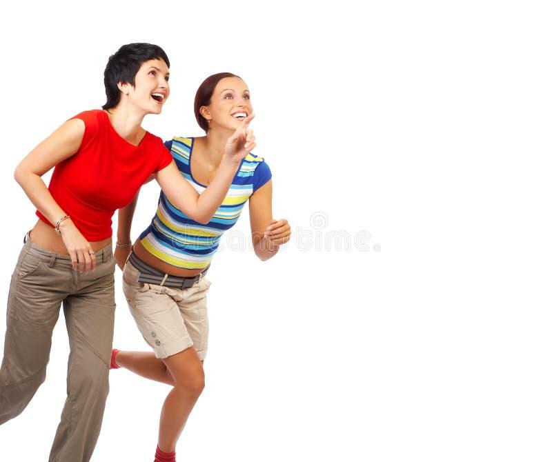 running kvinnor royaltyfri foto