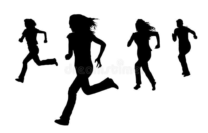running kvinnor royaltyfri illustrationer
