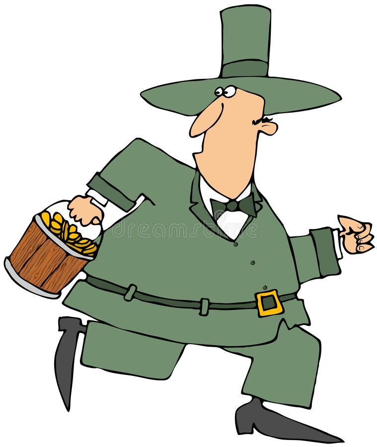 Running Leprechaun Carrying A Bucket Of Gold