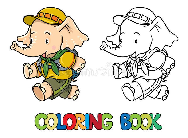 Running little baby elephant. Coloring book. Scout. Scout. Funny running baby elephant with backpack. Children vector illustration. Coloring book vector illustration