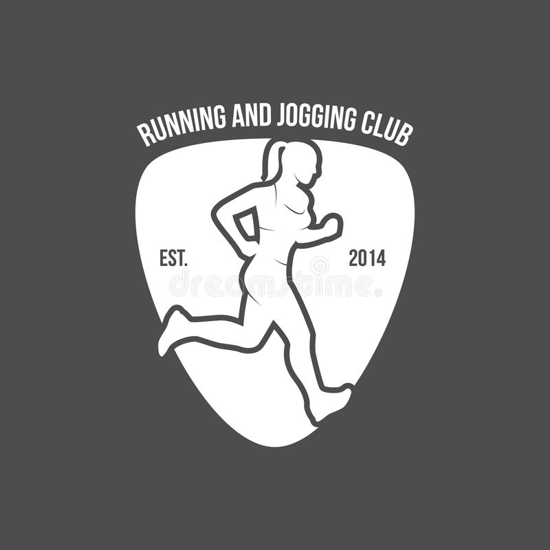 Running logo, marathon concept, sport activities, triathlon vector line icon royalty free stock images