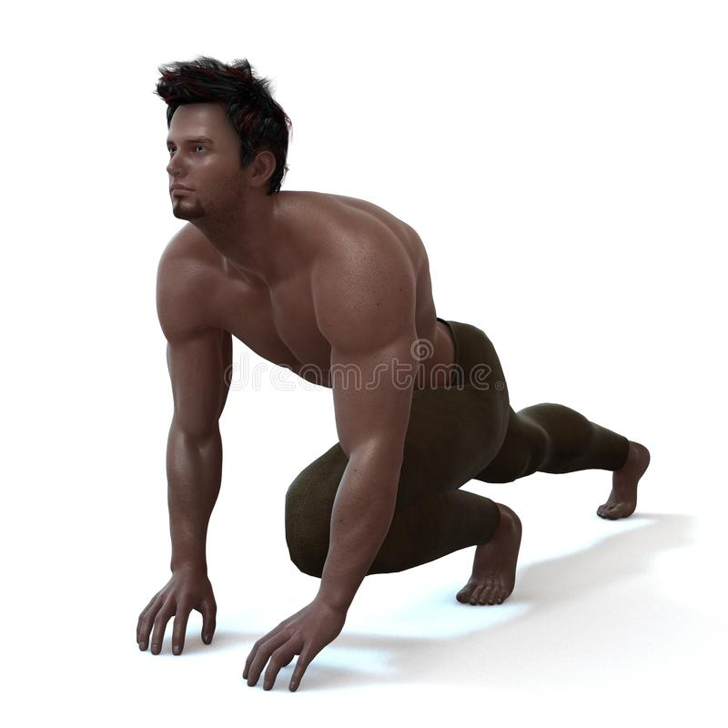 Running. A male model in a pose vector illustration