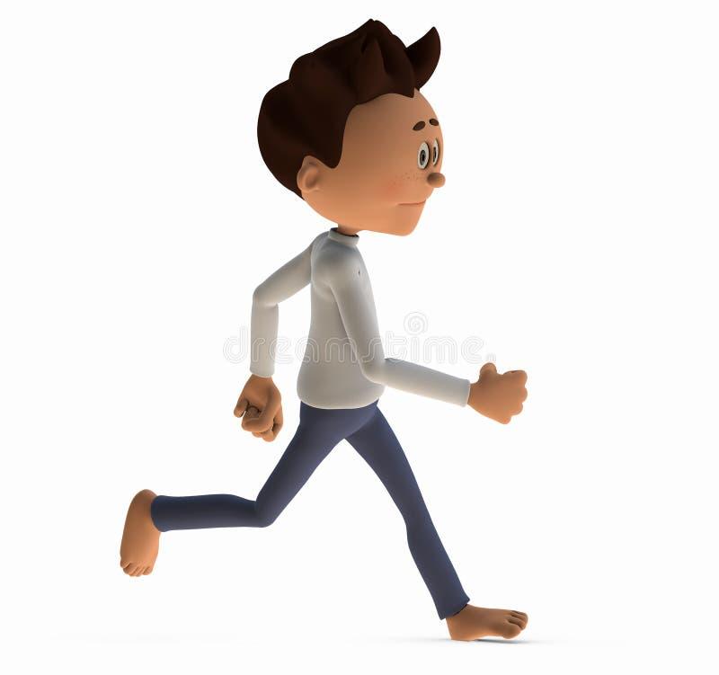 Running Man. 3D rendered man running barefoot stock illustration