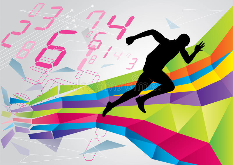 Running Man. Silhouette of running man on a colorful background stock illustration