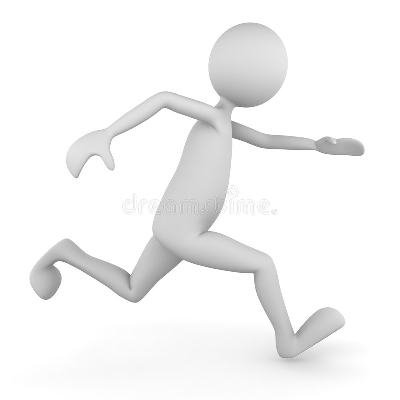 Running man. Running healthy man; 3D render royalty free illustration