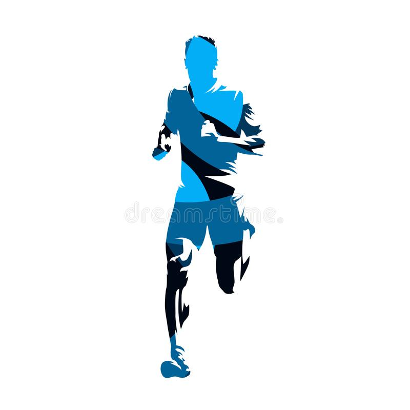 Running man, blue geometric vector silhouette. Active people. Sprinting man, front view. Run stock illustration