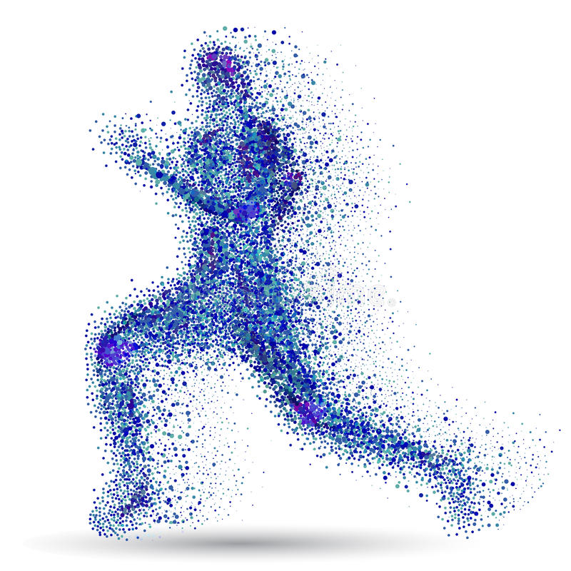 Running man.Blue particles composed runner.Abstract vector.Running man silhouette. Abstract vector.Running man silhouette royalty free illustration