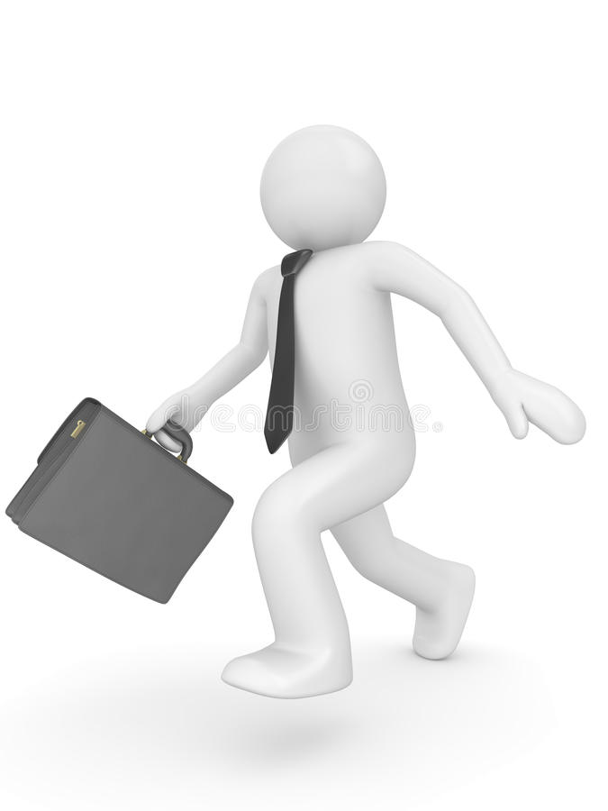 Running man with briefcase royalty free stock photos