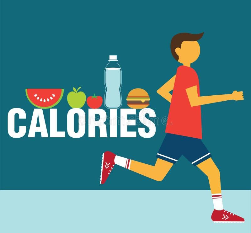 Running man calories. Vector illustration vector illustration
