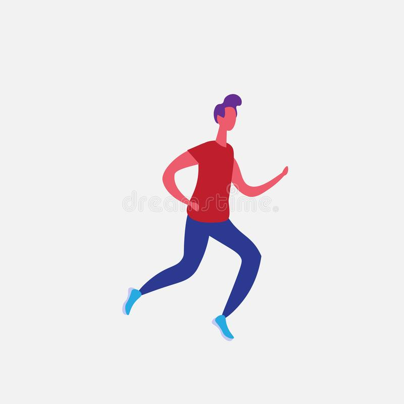 Running man cartoon character sportsman activities isolated healthy lifestyle concept full length flat stock illustration