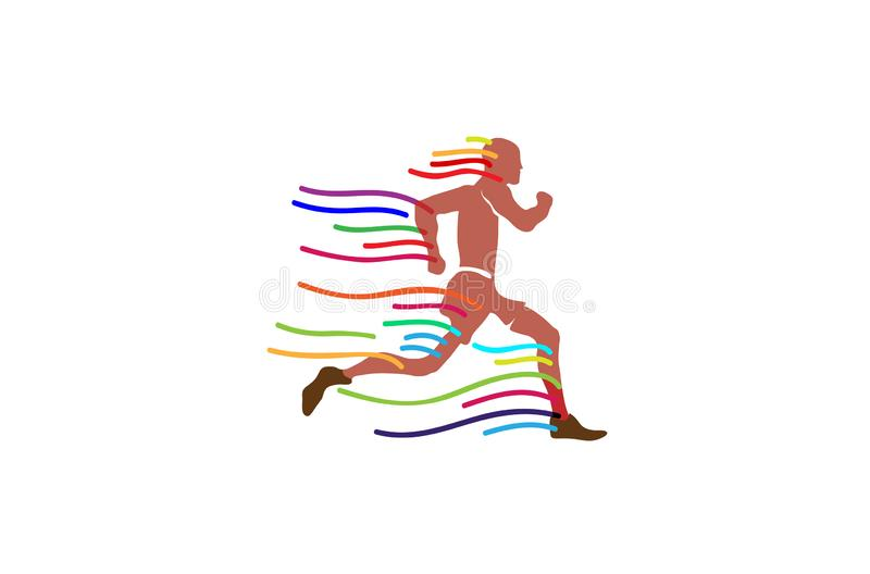 Running Man Colorful Lines Logo. Symbol Vector Design Illustration royalty free illustration