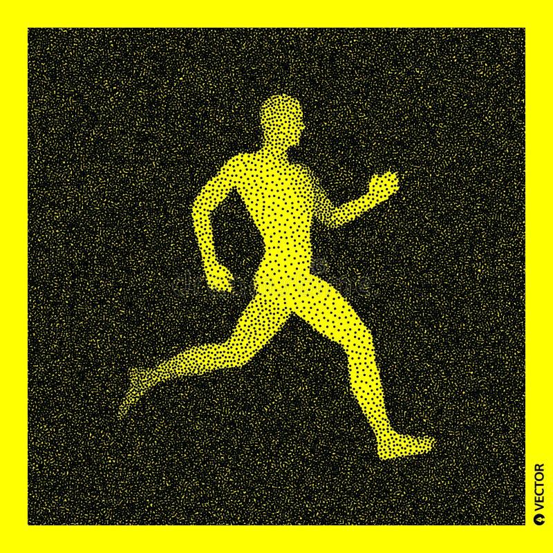 Running man. 3D Human Body Model. Black and yellow grainy design. Stippled  illustration.  vector illustration