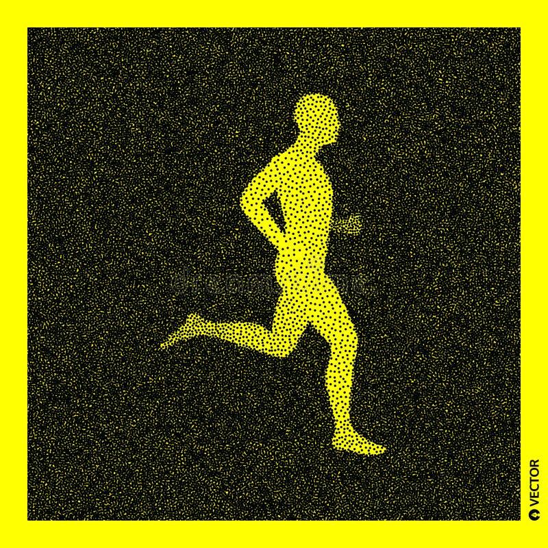 Running man. 3D Human Body Model. Black and yellow grainy design. Stippled vector illustration.  royalty free illustration