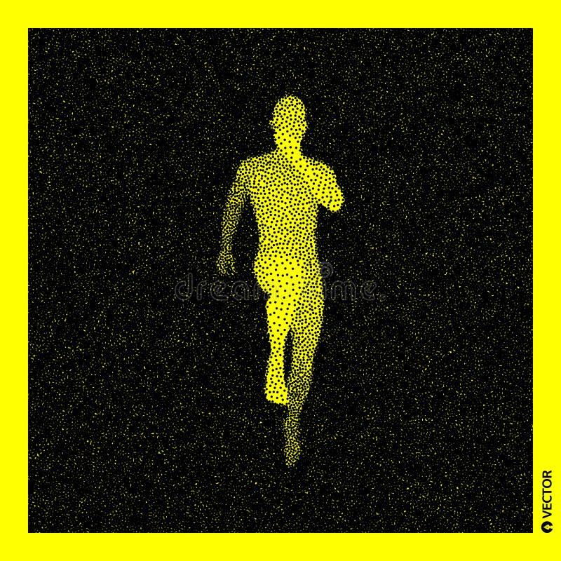 Running man. 3D Human Body Model. Black and yellow grainy design. Stippled vector illustration.  vector illustration
