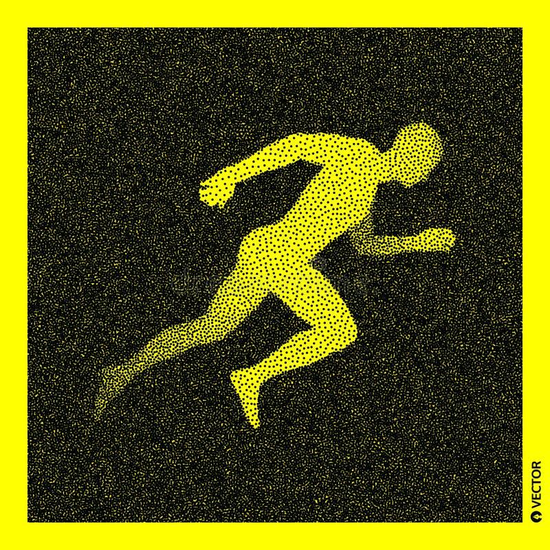 Running man. 3D Human Body Model. Black and yellow grainy design. Stippled vector illustration. Running man. 3D Human Body Model. Black and yellow grainy design stock illustration